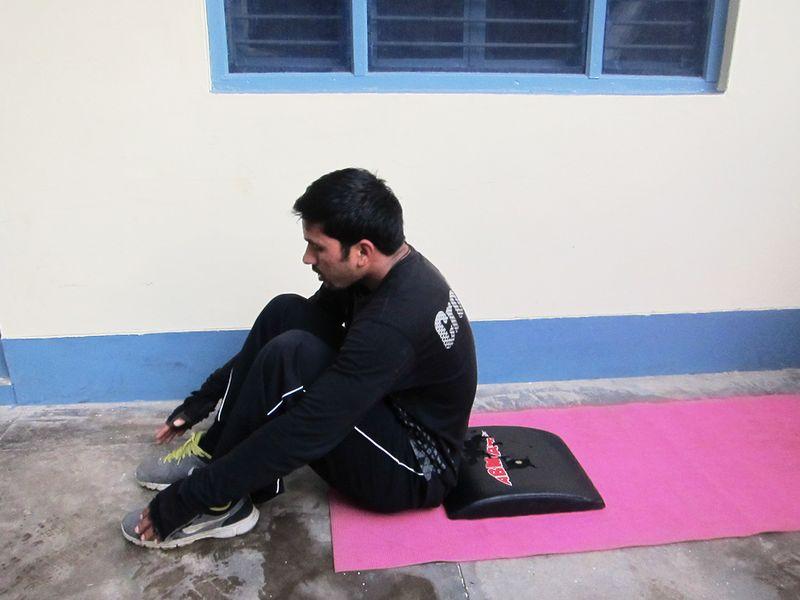 Gautam doing situps